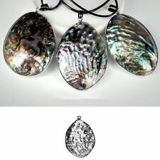 Gorgeous Huge Oval Cut Natural Abalone Shell Gemstone Silver Necklace Pendants