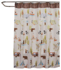 Saturday Knight Camping Critters Fabric Shower Curtain Outdoors Theme NEW