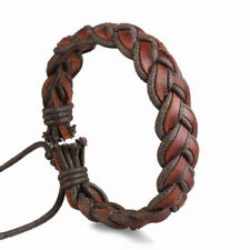 Mens brown leather braided woven surfer style wristband bracelet