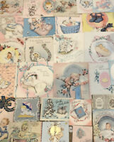Vintage Baby Cards Novelty Lace Foils Die Cut Ribbon String 31 Pcs Used