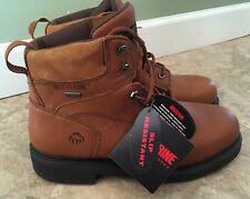 Wolverine Mens W02563 Lace Work Boots Brown Leather Gore Tex 9.5 M NEW