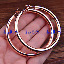 Ladies Classic 18K Rose Gold Filled X-Large 70mm Round Tube Hoop Earrings H792R