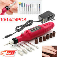 24 Pcs Electric Nail Drill Manicure Filer Kit Acrylic Gel Remover Pedicure Tool