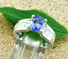 14k Solid White Gold Natural Diamond & AAAA Oval Cut Tanzanite Ring 2.08 ct