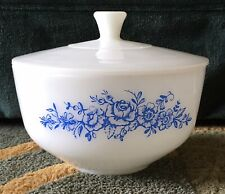 Federal White Milk Glass Blue Flowered Casserole Dish, Large Bowl with Lid