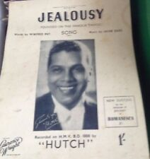 Vintage sheet music Jealousy recorded by Hutch