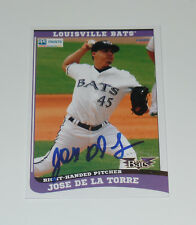 JOSE DE LA TORRE SIGNED AUTO'D 2015 LOUISVILLE BATS CARD #12 BOSTON RED SOX