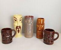 Vtg Orchids of Hawaii TIKI Mug Japan Lot of 5 Aloha Bar Hawaiian Cup Vase Libbey