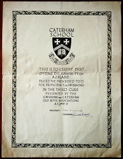More details for caterham school proficiency in swimming 3rd class certificate. 1946