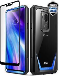 POETIC Guardian Clear Bumper Case [With Tempered Glass] for LG G7 ThinQ Blue