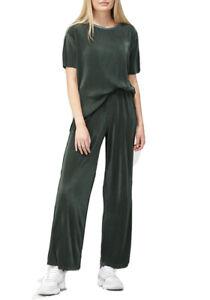 V By Very Long Line Plisse Co Ord Top & Wide Leg Trouser Lounge Set Khaki 18