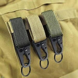 2xNylon Tactical Molle Belt Carabiner Key Holder Camp Bag Hook Buckle Strap Clip