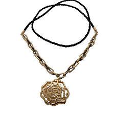 Rosenkette Kette Anhänger Rose Blüte Blume gold schwarz mit Zirkonia Schmuck