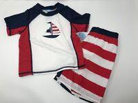 Baby Buns Toddler Boys SPF 50 Swimwear Rashguard Swim Trunk Swimsuit Set