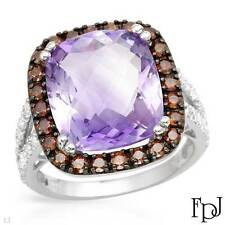 FPJ Brand NEW 10K Cocktail Ring w/ Genuine Amethyst & Diamonds -8.60 ctw, Size 7