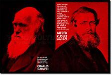 Charles Darwin & Alfred Russel Wallace Arte Citazione STAMPA FOTO POSTER DONO scienza