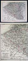 1875 Meyer Atlas Map Belgium Luxemburg Brussels Europe