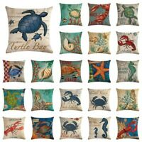 """18"""" Cushion Cover Conch Coral Ocean Animal Style Linen Throw Couch Pillow Cover"""
