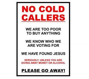 NO COLD CALLERS, FUN HUMOUR STICKER For front door or window, 3 Sizes Waterproof