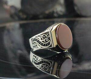 Turkish Mens Ring Red Carnelian yemeni Agate Aqeeq 925 sterling silver TR 01