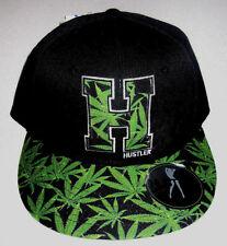 MENS HUSTLER WEED BLACK SNAPBACK HAT ADJUSTABLE CAP ONE SIZE