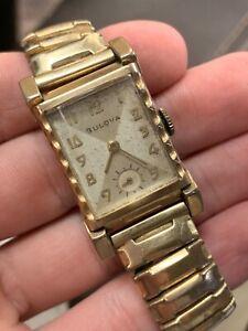 Vintage Bulova 10k Rolled Gold Plate Mens Wrist Watch & Case - Running!! NR