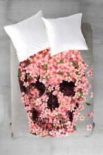 Deny Designs Terry Fan Floral Skull Reincarnate King Duvet Cover Grey Pink Nwt