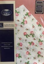 Conjunto De Ropa De Cama Individual En Rosa Rosa Floral Funda De Almohada Polialgodón Plana Ajustada