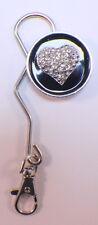 Black And Silver-Toned Heart Love Inspired Purse Handbag Bag Hook Key Finder