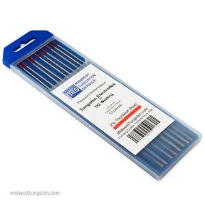 "TIG Welding Tungsten Rod Electrodes 2%Thoriated 1/16"" x 7"" (Red, WT20) 10PK"