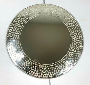 """Mosaic Mirror Wall Art Silvershine Handmade Round 23"""" Diameter"""