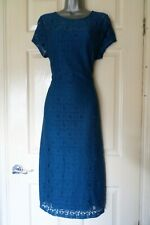Vestido de Encaje Dorothy Perkins.. Talla 18... precioso Cerceta Azul estilo.. mira..