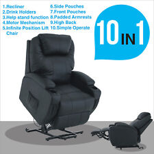 Black Power Electric Lift and Rise Chair Recliner Armchair Leather Lounge Seat