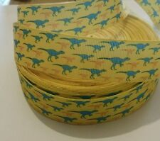 1m grosgrain ribbon 25mm yellow with blue & orange dinosaurs jurassic