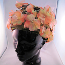 Vintage Salmon Pink Foral Hat by Patrice MOD 1960's