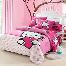 3D Wing Hello Kitty Kids Bedding Set Duvet Cover Bed Sheet Twin Full Queen