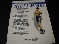 Nicki Minaj For Your Grammy Consideration 2015 Promo Poster Ad mint condition