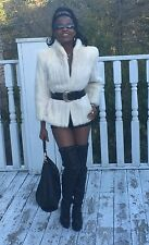Designer Classy white blonde soft Mink Fur coat jacket Stroller Bolero S-M 0-6