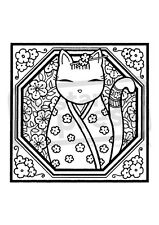 A7 'Kimono Cat Motif' Unmounted Rubber Stamp (SP00003968)