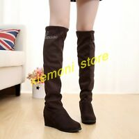 Womens Hidden Wedge Pull On Slouch Shoes Knee High Boot Riding Fashion Round Toe