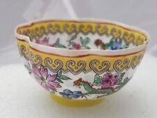 Antique Chinese Egg Shell  Porcelain Polychromed Rice Bowl Dragon Design
