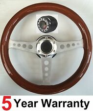 CLASSIC WOODEN WOOD RIM STEERING WHEEL FIT LAND  ROVER DEFENDER 36 SPLINE SHAFT