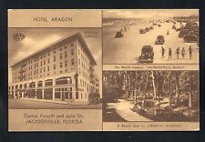 postcard Hotel Aragon Cars on Beach in Jacksonville Florida Duval County
