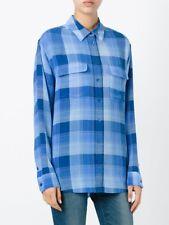 Equipment Women's Signature Silk Shirt/Top -Arabesque Plaid Blue Lapis Sz XS New