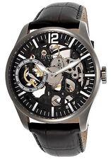 NEW Invicta 12406 Mens Vintage Mechanical Skeleton Black Leather/Dial Watch wind