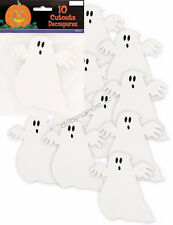 10x Mini Ghost Shaped Cardboard Cutout Decoration Halloween Spooky Scary Party