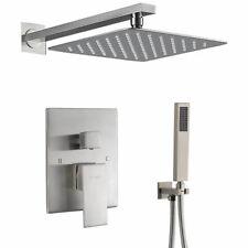 "16""Brushed Nickel Rain Shower Combo Kits Set Wall Mount Shower Head System Mixer"