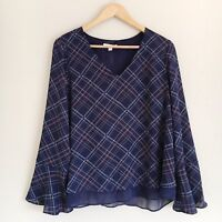 LC Lauren Conrad Womens Size Large Blue and Pink Plaid Lace Bell Sleeve Blouse