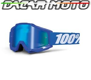 MASCHERINA OCCHIALI 100% ACCURI OFF ROAD MOTO CROSS LENTI SPECCHIO+NEUTRAL