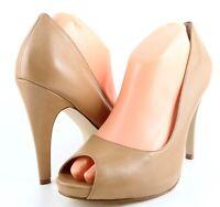 NINE WEST ESCHER Natural Leather Designer Peep Toe Platform Heels Pumps 10.5
